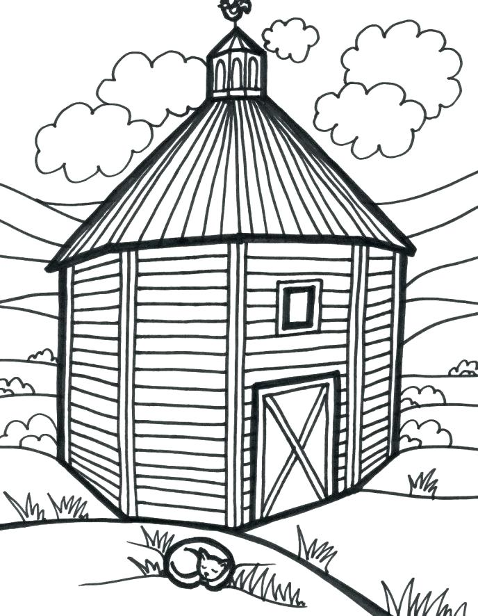 688x886 Drawing Barn Coloring Page Color