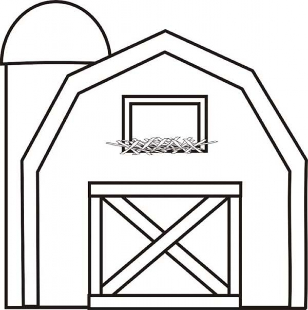 1018x1024 Barn Coloring Page