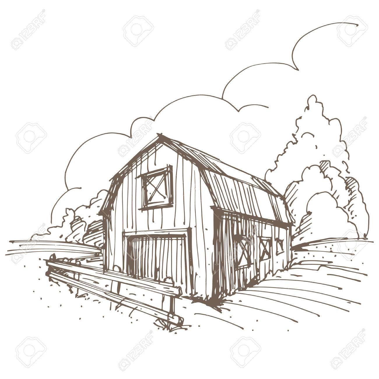 1300x1300 Magnificent 10 Farm Barn Drawing Design Decoration Of Free