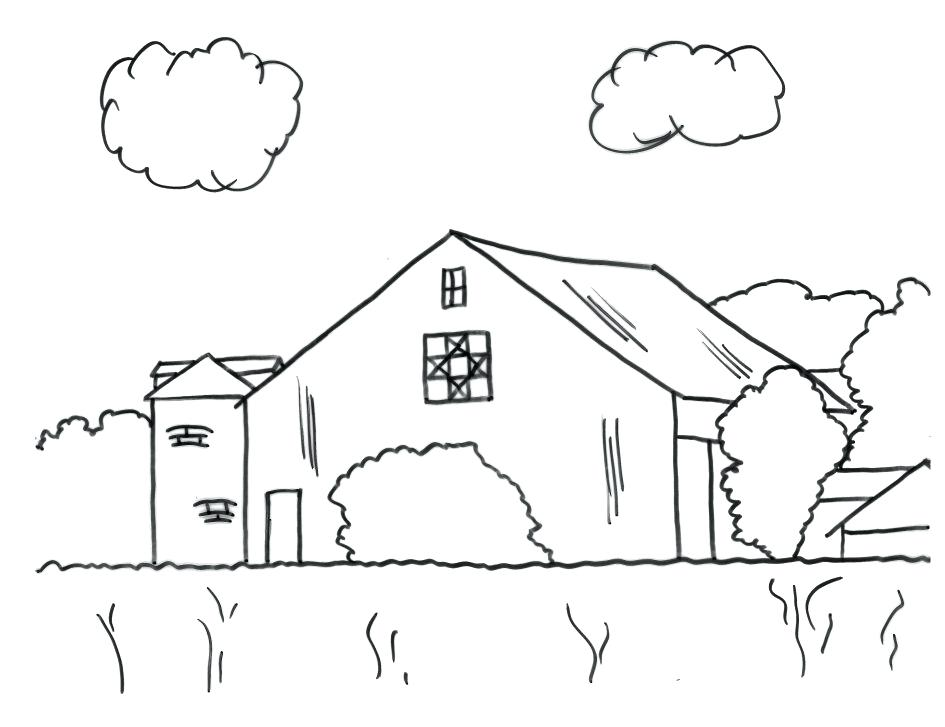 945x727 Barn Coloring Pages Free