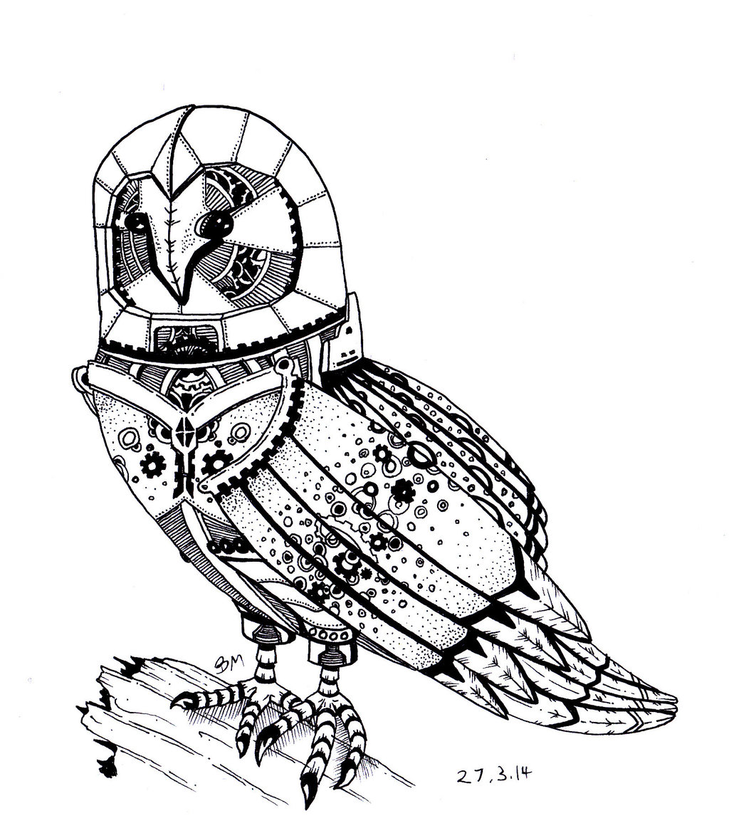 1024x1170 Robotic Barn Owl By Bmillustration