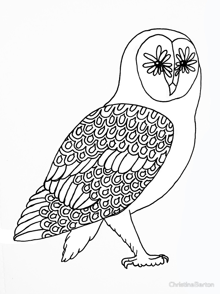 750x1000 Barn Owl Line Art By Christinabarton Redbubble