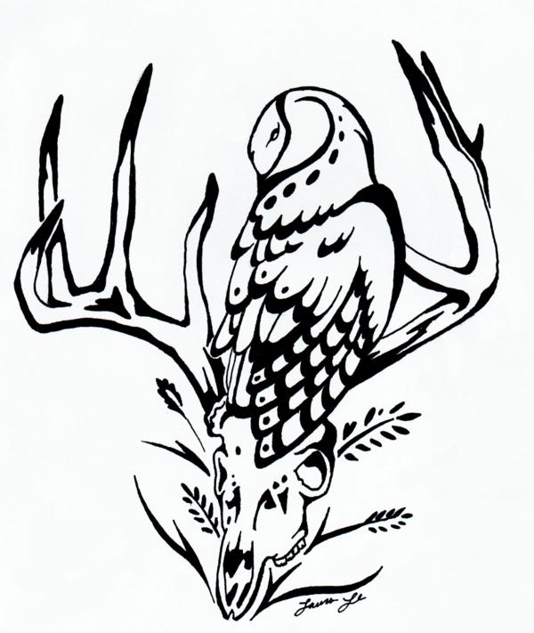600x711 Barn Owl And Deer Skull Inks By Morrokko