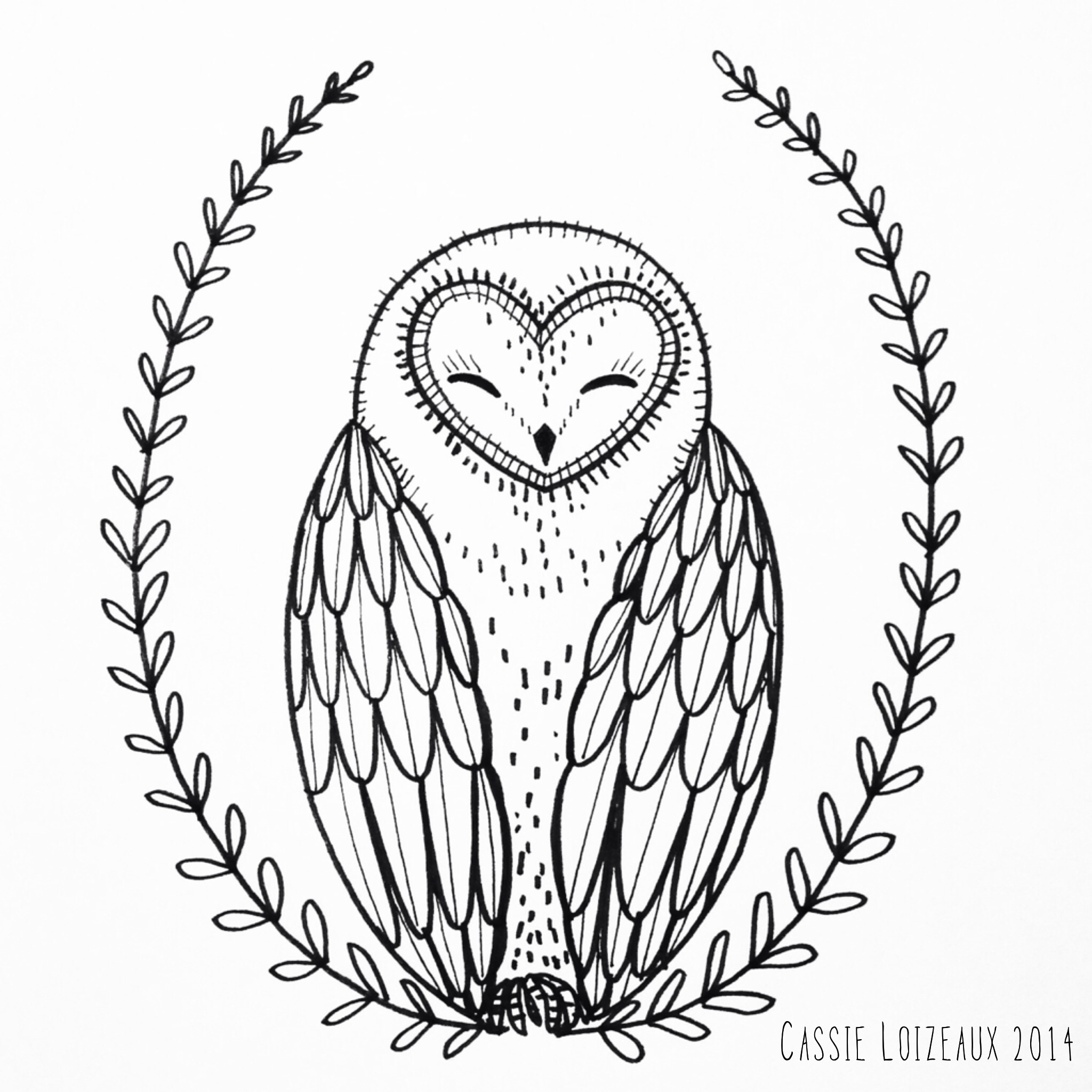 2048x2048 Sleeping Owl. Day 81 Of Yearlong Sketchbook Project. Cassie