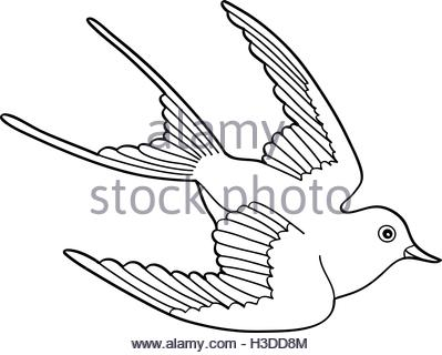 399x320 Hand Drawn Illustration Or Drawing Of A Swallow Bird With A Ribbon