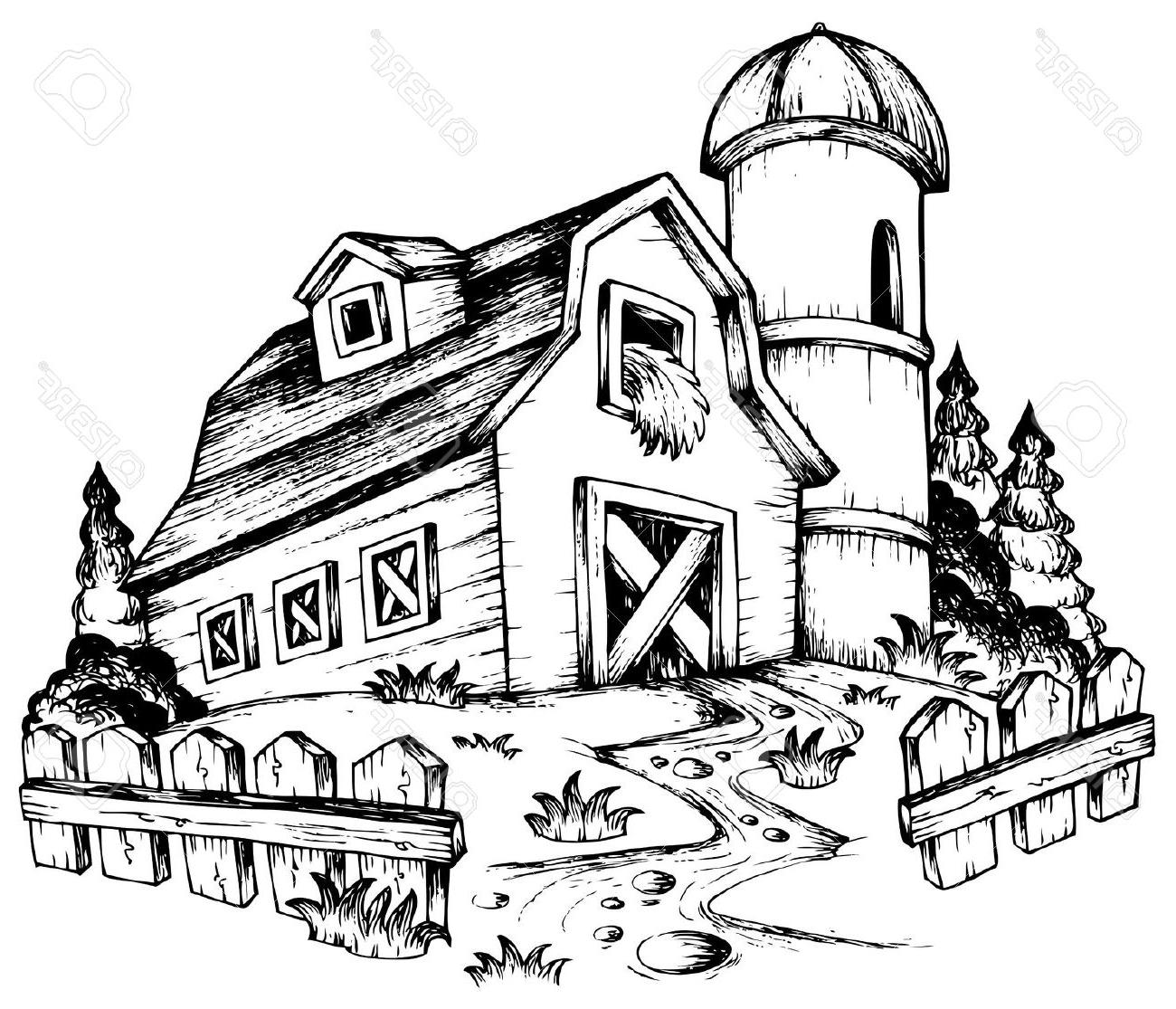 1300x1115 Magnificent 10 Farm Barn Drawing Design Decoration Of Free