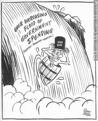 314x385 M965.199.8912 Over Niagara Falls In A Barrel. Drawing, Cartoon