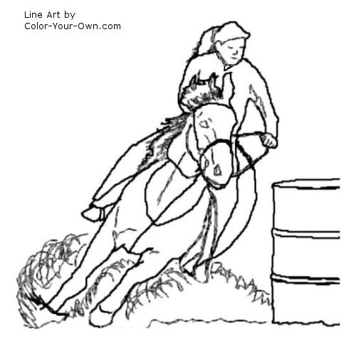 500x500 Barrel Racing Horse Coloring Page