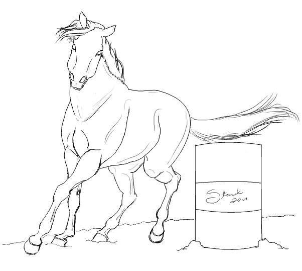 602x539 Barrel Racing Horse Coloring Pages Kids Barrel