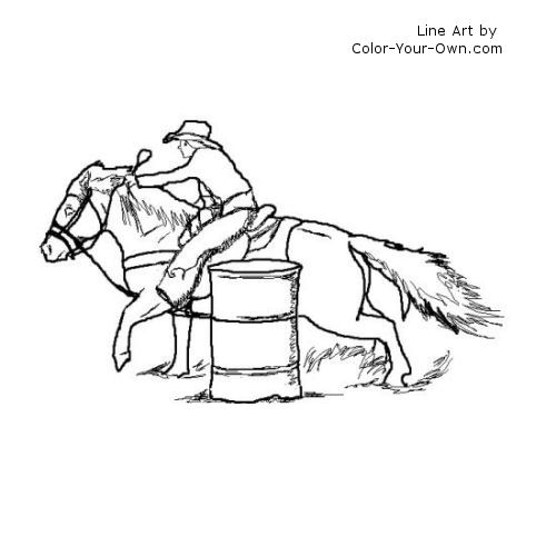 500x500 Barrel Racing Pony Coloring Page