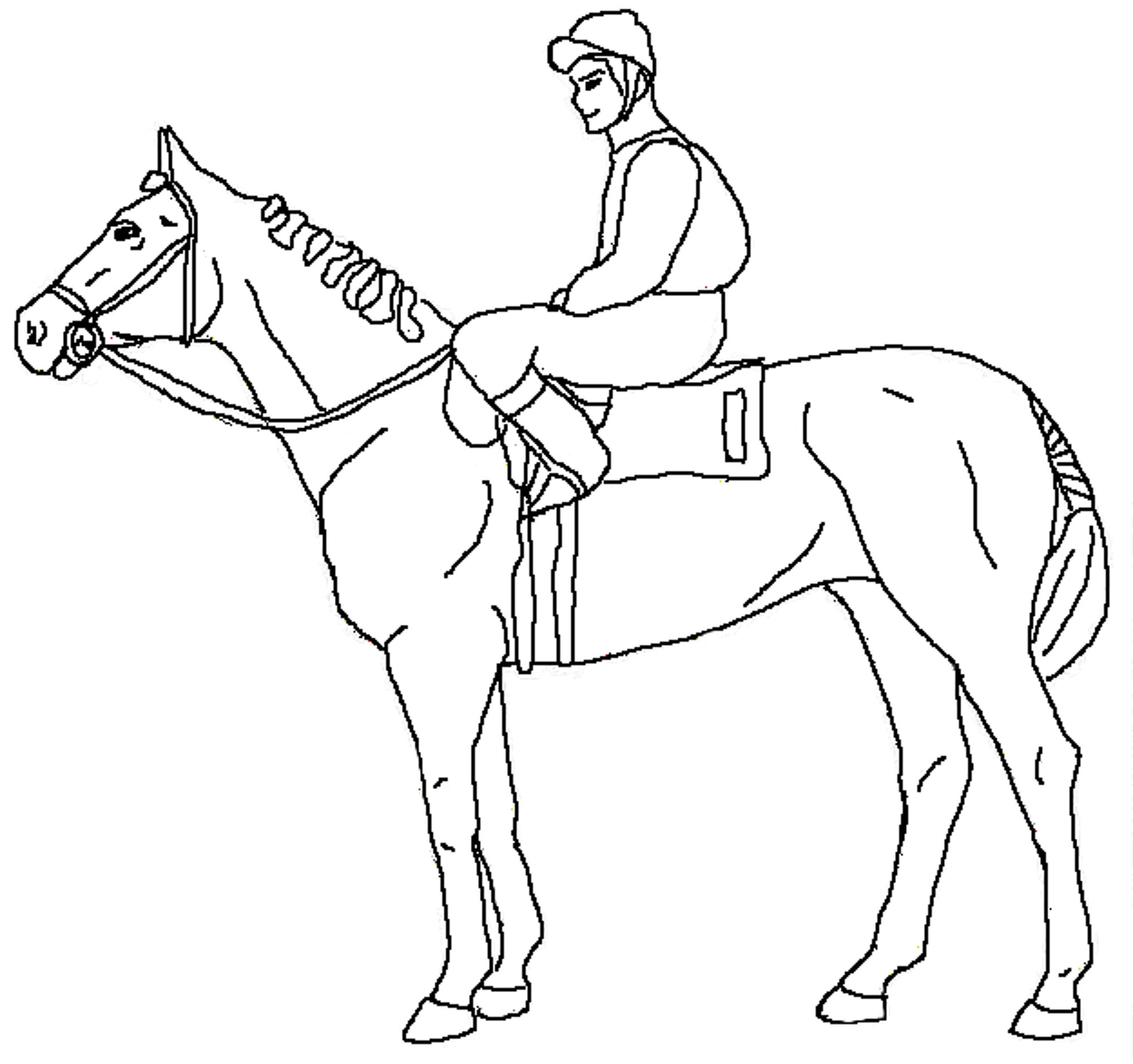 2000x1878 Horse Racing Coloring Pages