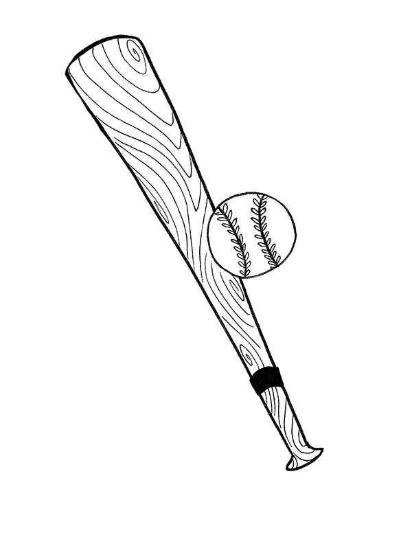 600x776 Baseball Bat And Ball Coloring Page