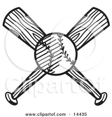 450x470 Baseball Over Two Crossed Baseball Bats Clipart Illustration By