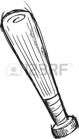 255x450 Simple Black And White Baseball Bat Cartoon Royalty Free Cliparts