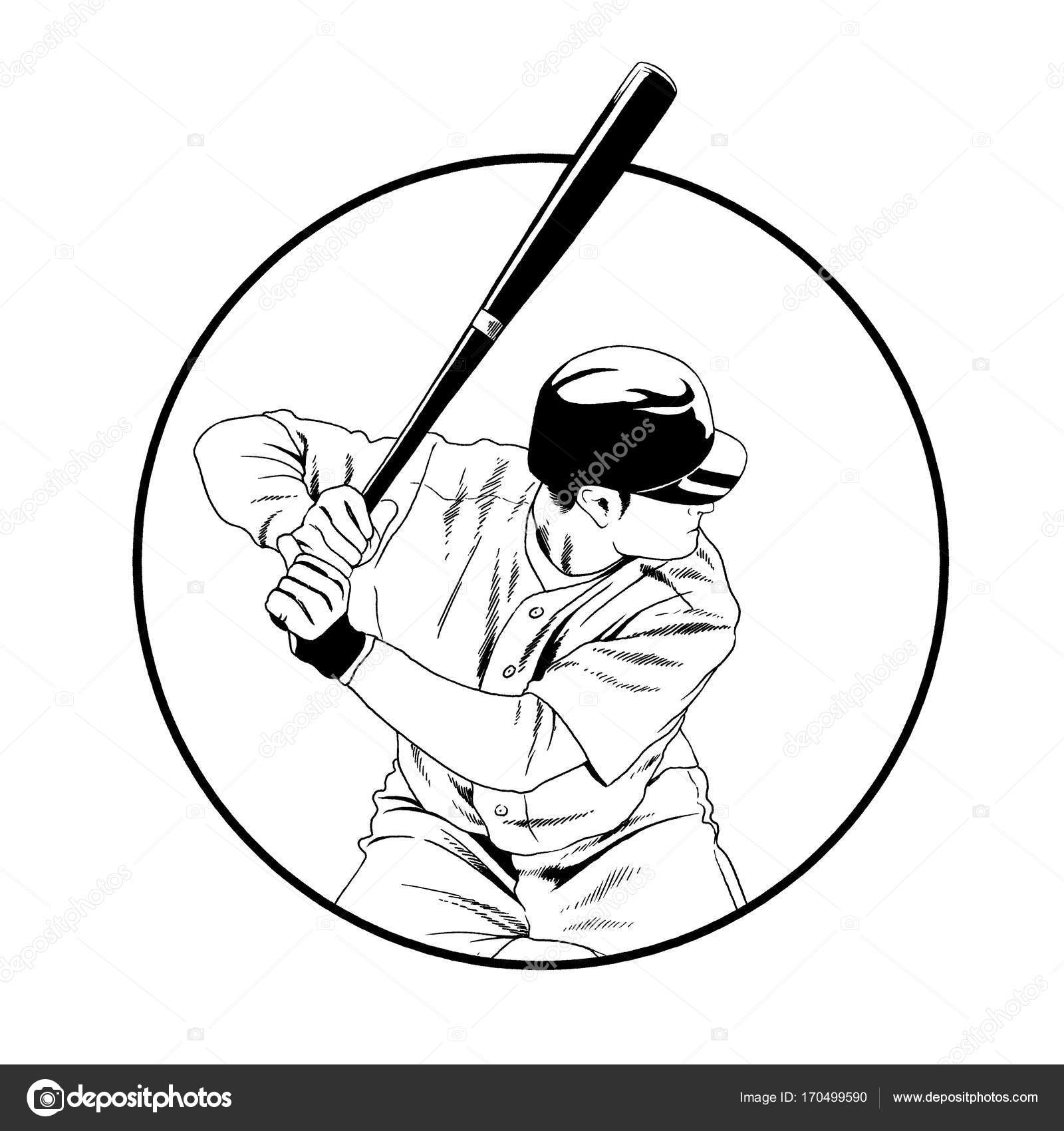 1600x1700 Baseball Player With A Bat In The Pose Drawn With Ink Hand Sketch
