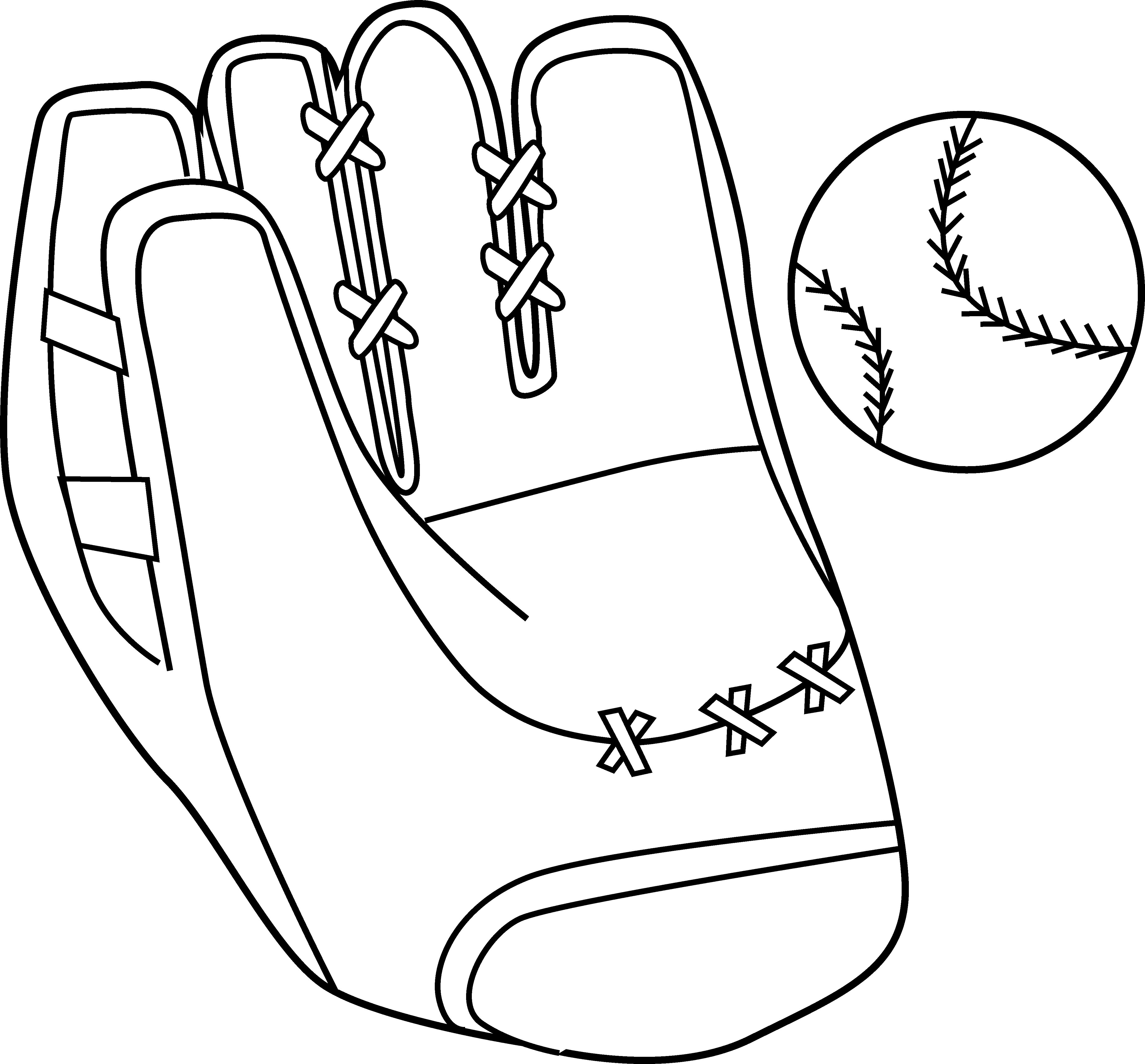 4606x4280 Baseball Mitt And Ball Coloring Page