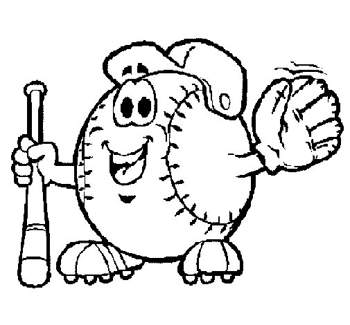505x470 Baseball Ball Coloring Page