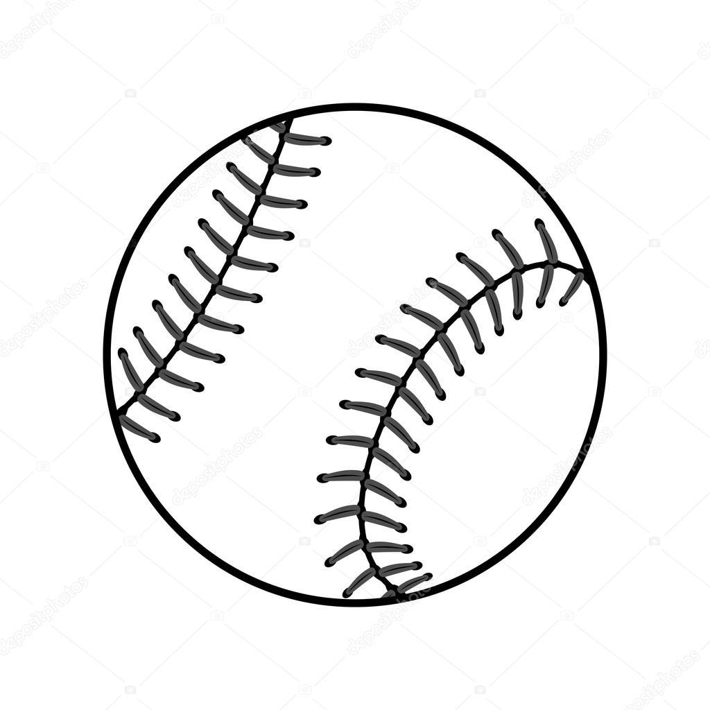 1024x1024 Baseball Ball Sign Black Stock Vector Alona S