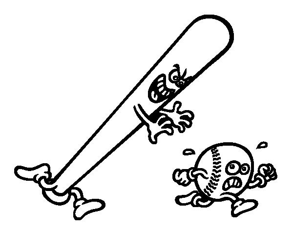 600x470 Baseball Bat Chasing A Ball Coloring Page