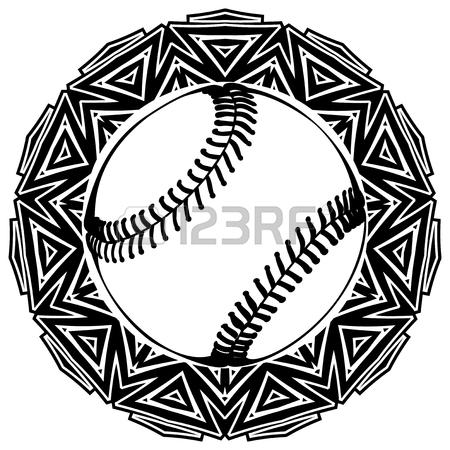 450x450 Abstract Vector Illustration Black And White Baseball Ball