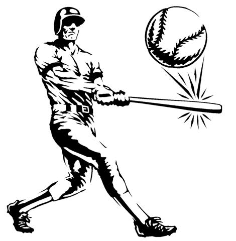 470x480 Batter Hits Ball Decal Sticker