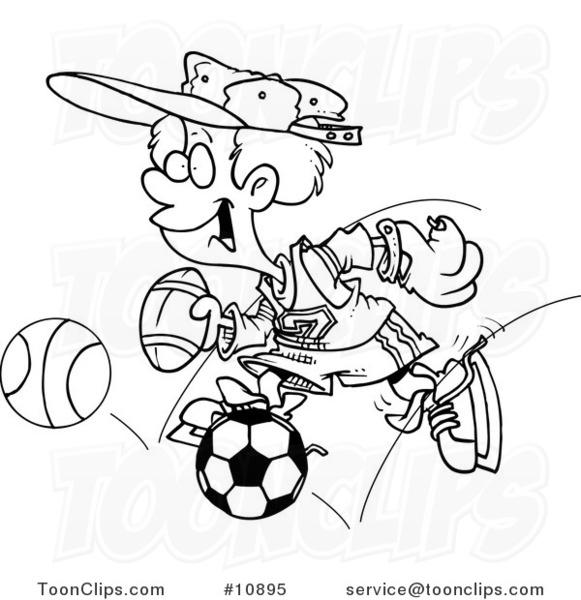 581x600 Cartoon Blacknd White Line Drawing Of Sporty Boy