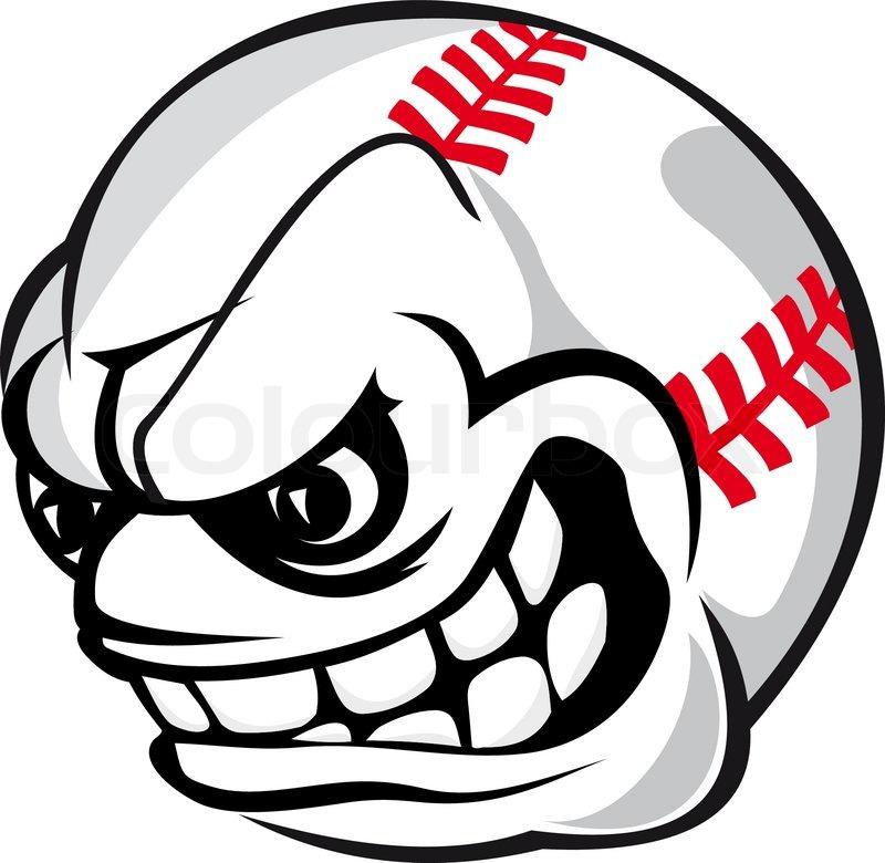 800x780 Angry Baseball Cartoon Ball Isolated On White Background Stock