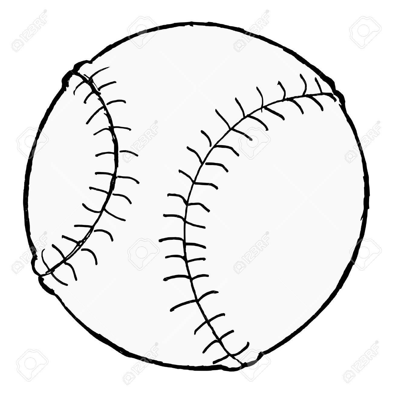 1300x1300 Hand Drawn, Cartoon Image Of Baseball Ball Royalty Free Cliparts