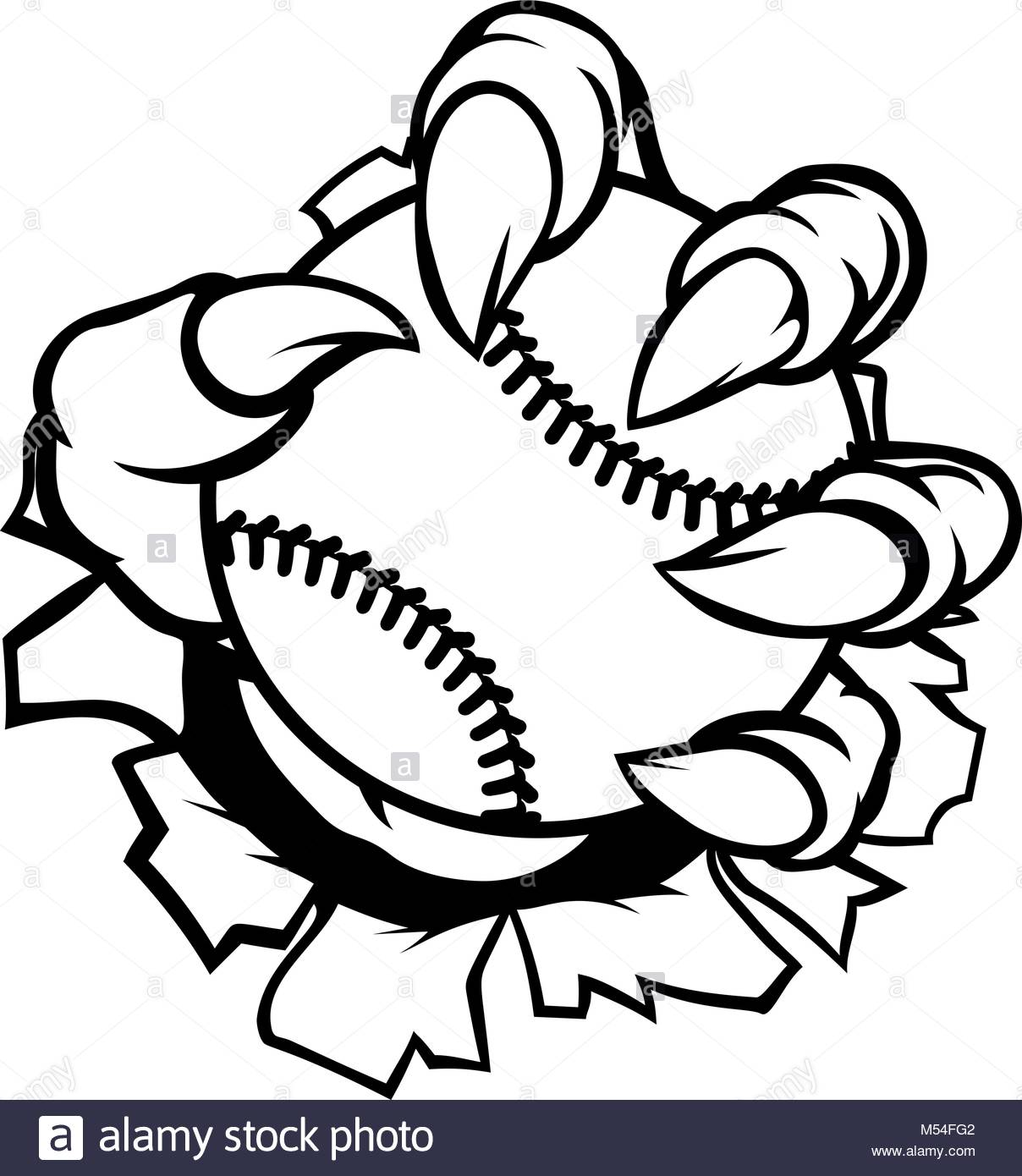 1208x1390 Monster Or Animal Claw Holding Baseball Ball Stock Vector Art