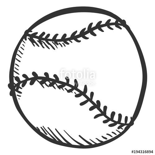 500x500 Vector Pencil Sketch Ball For Baseball Stock Image And Royalty