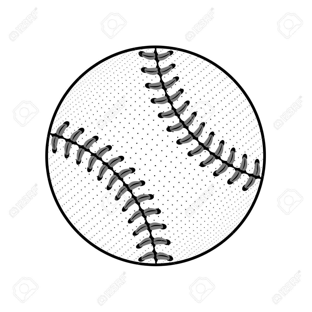 1300x1300 Baseball Ball Sign. Black Softball Icon Isolated On White