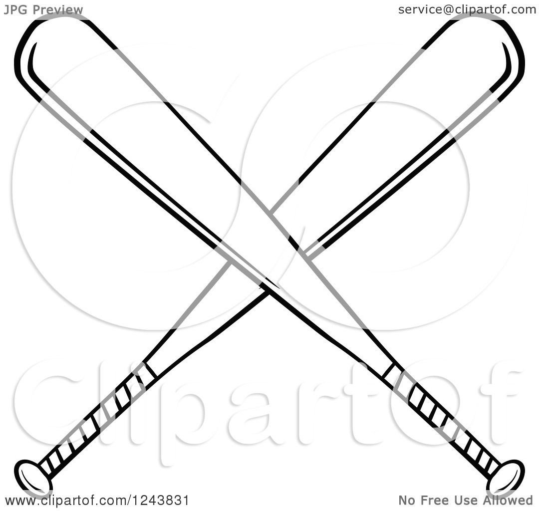 1080x1024 Clipart Of Crossed Black And White Baseball Bats