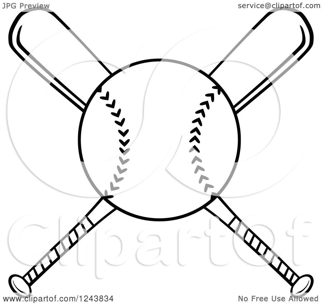 1080x1024 Clipart Of Crossed Black And White Baseball Bats And A Ball