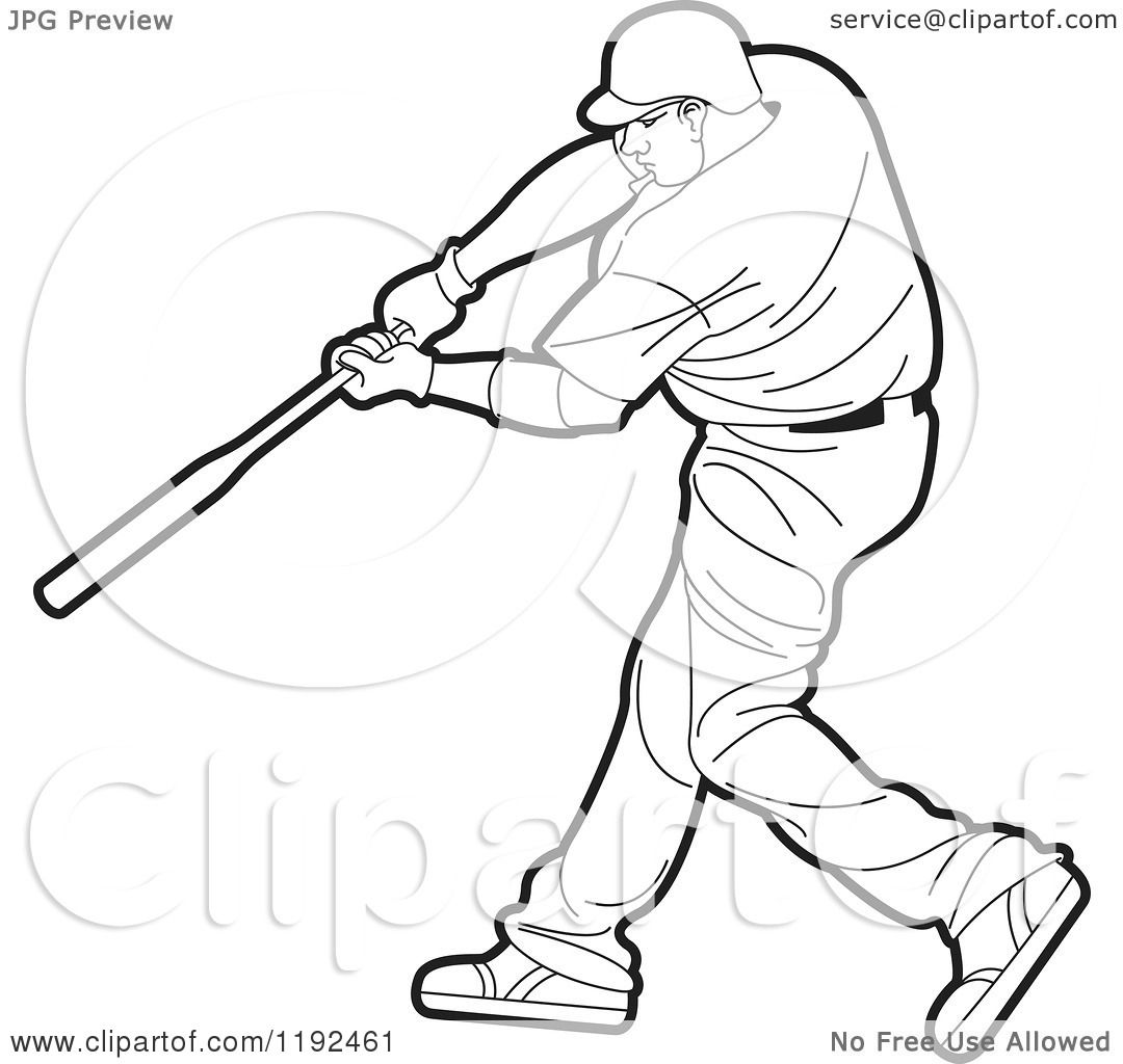 1080x1024 Clipart Of A Swinging Black And White Baseball Player