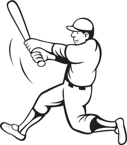 422x480 Baseball Batter Swinging Coloring Page Free Printable Coloring Pages