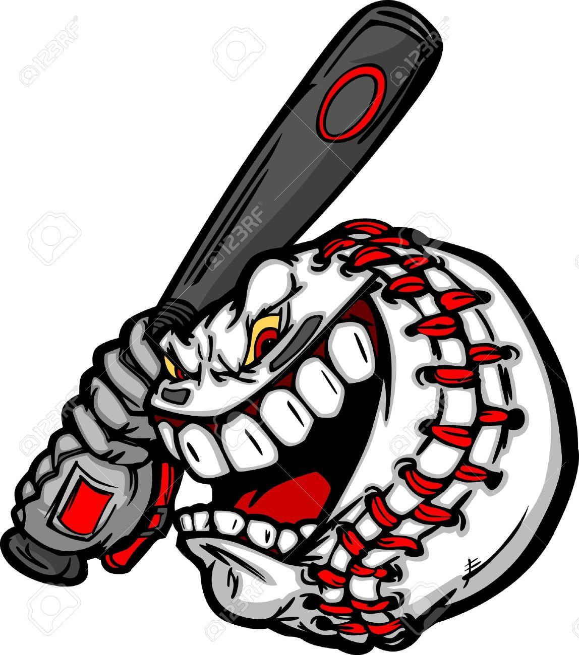 1148x1300 Cartoon Baseball Ball Face Holding Baseball Bat Illustration
