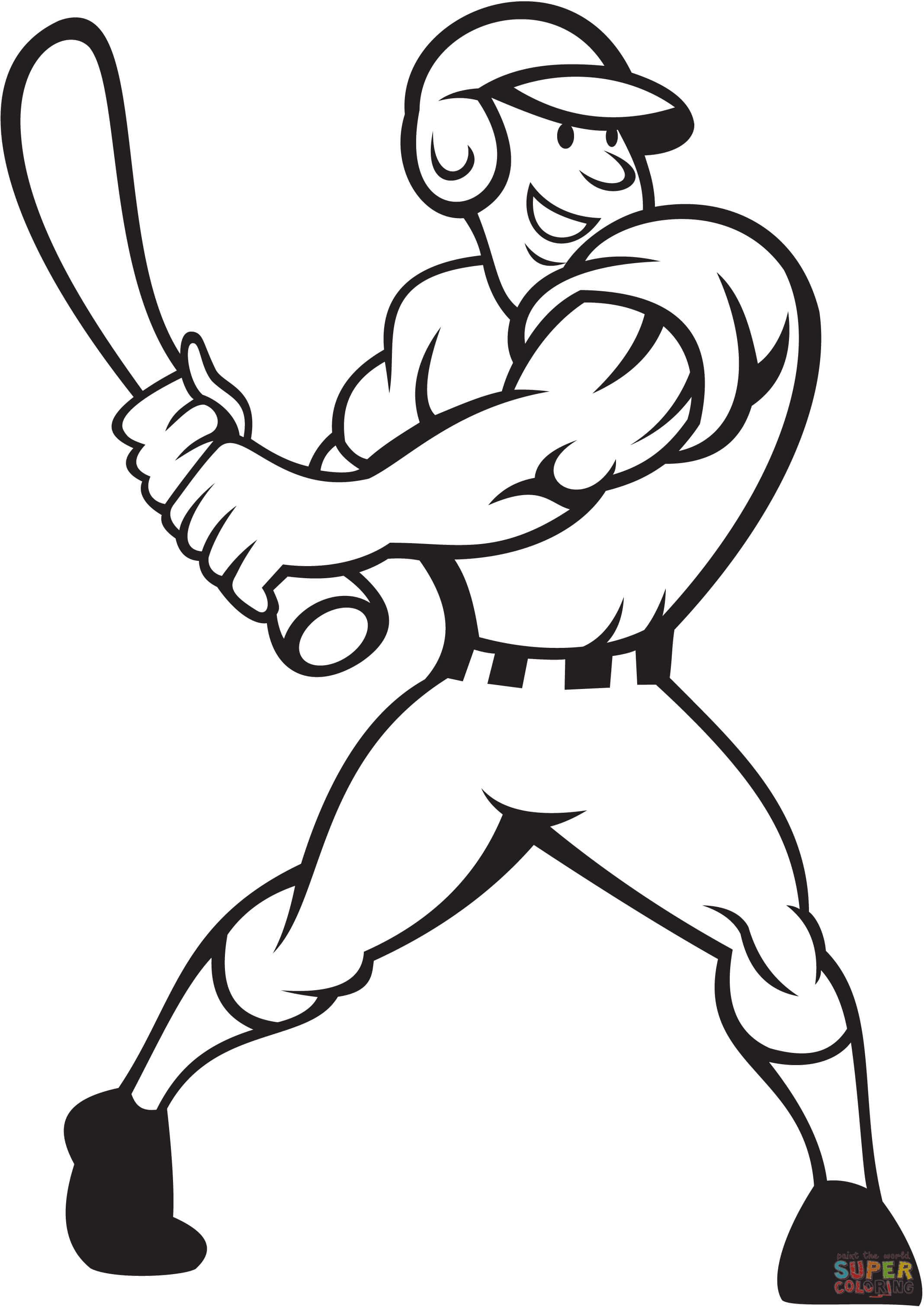 2136x3020 Baseball Player Batting Side Coloring Page Free Printable
