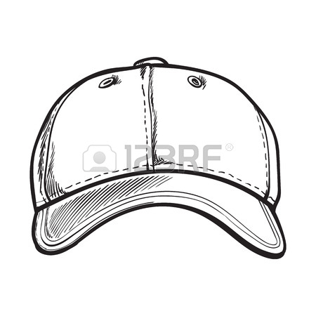 450x450 Clean, Unlabelled Black And White Textile Baseball Cap, Sketch
