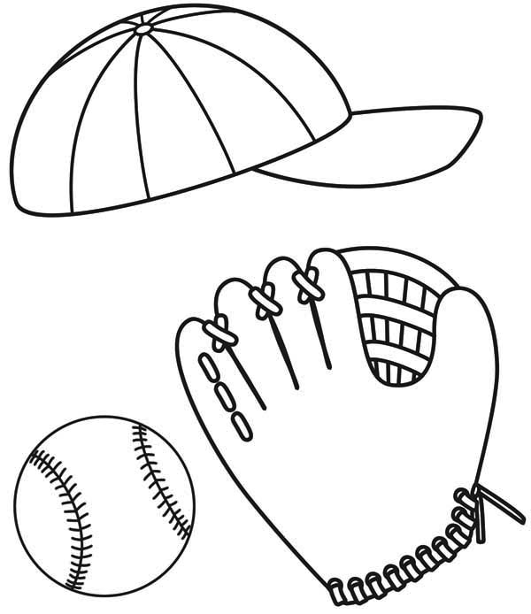 600x694 Baseball Cap, Glove And Ball Coloring Page