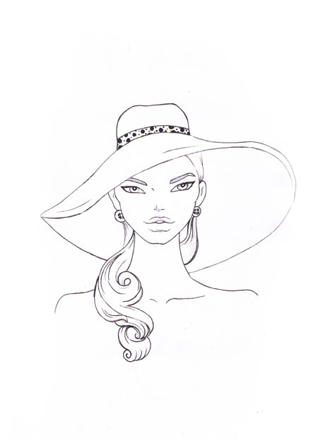 450x624 How To Draw A Fashion Hat I Draw Fashion