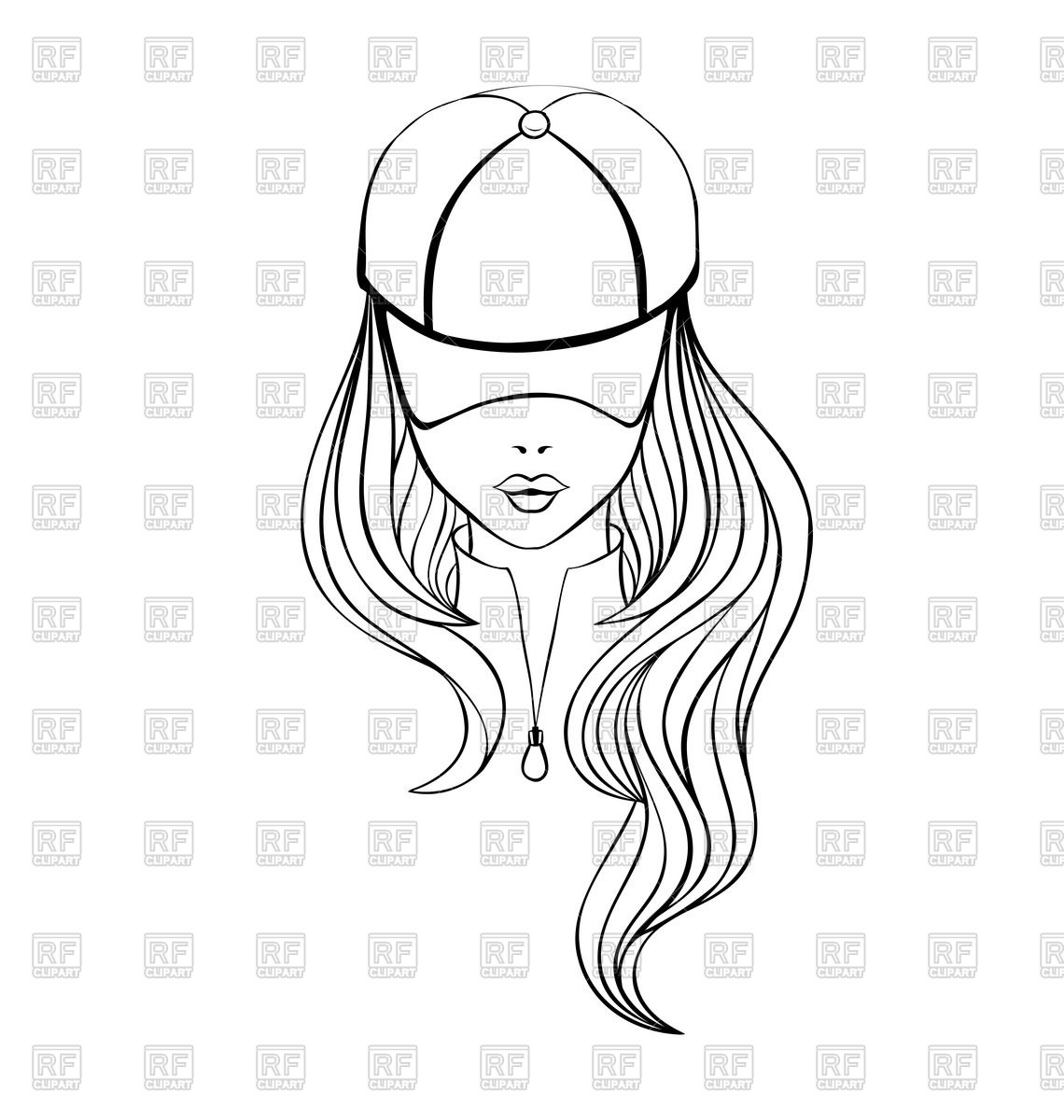 1140x1200 Outline Of Woman With Long Hair In Baseball Cap Royalty Free