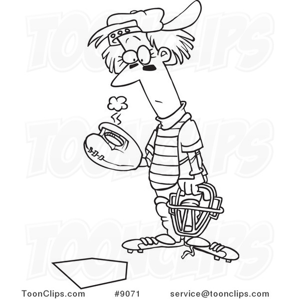581x600 Cartoon Black And White Line Drawing Of A Baseball Catcher