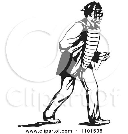 450x470 Clipart Retro Black And White Baseball Player Catcher