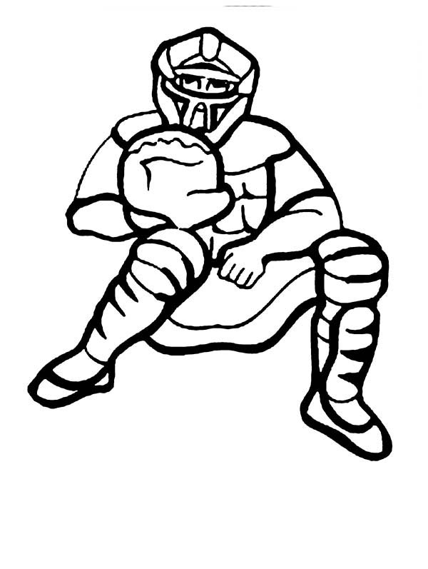 600x797 Baseball Catcher Coloring Page