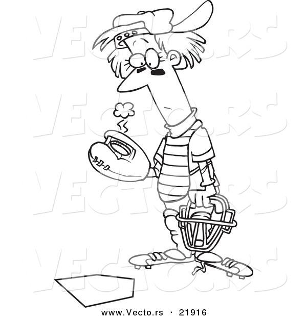 600x620 Vector Of A Cartoon Baseball Catcher