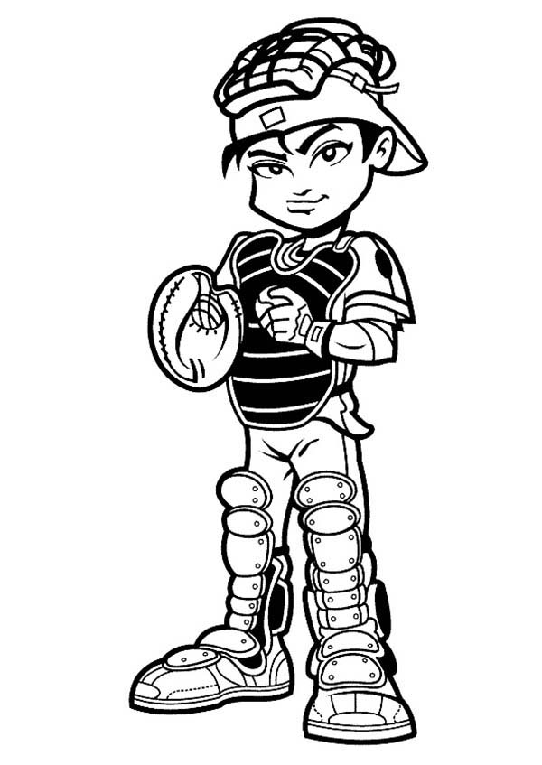 600x847 Baseball Player Catcher Coloring Page