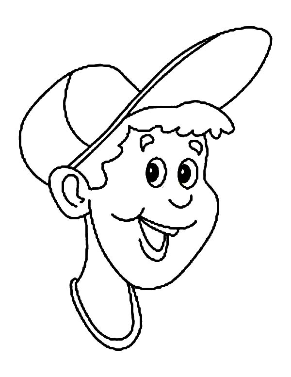 600x777 A Boy Put Baseball Cap On His Head Coloring Page Sun