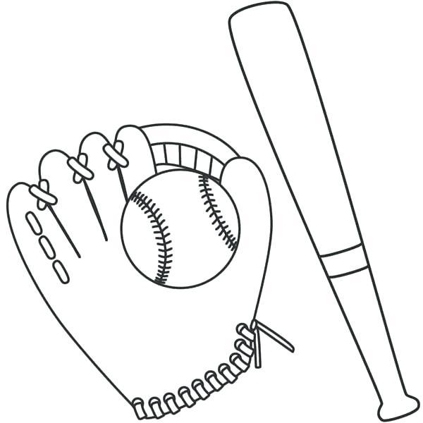 600x600 Baseball Glove Coloring Page Baseball Bat Coloring Page Adult