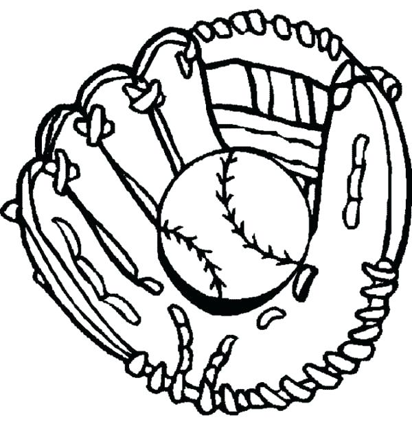 Baseball mitt drawing at free for for Baseball mitt coloring page