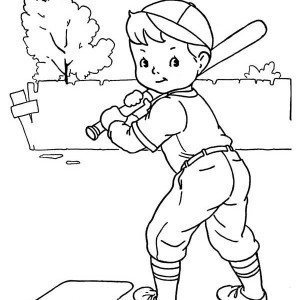 300x300 Boy Playing Baseball Coloring Page